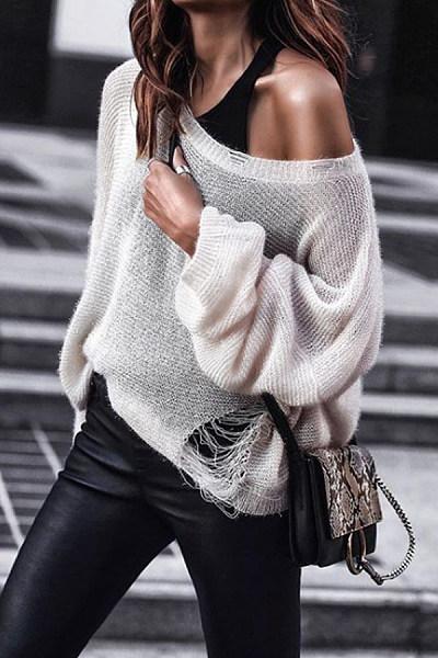 Medium  Casual  Plain  Long Sleeve Sweaters