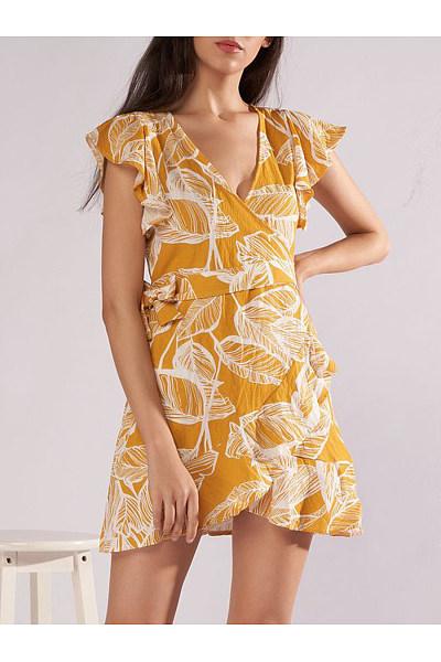 V-Neck Flounce Printed Mini Skater Dress