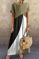 Casual Round Neck Geometry Short Sleeve Dress