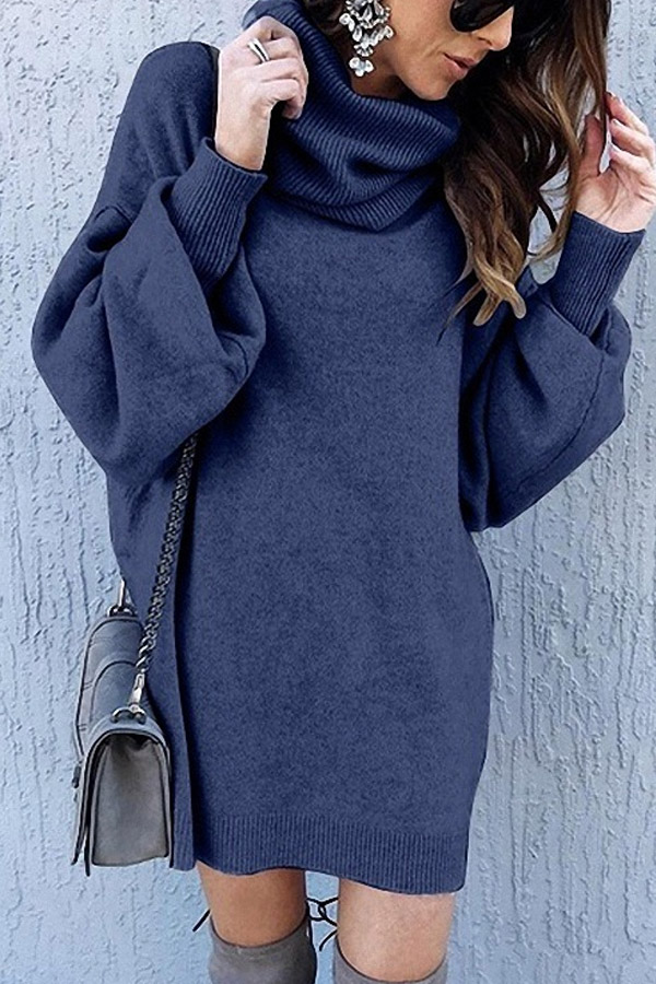 Steel Grey Cowl Neck Knit Dress