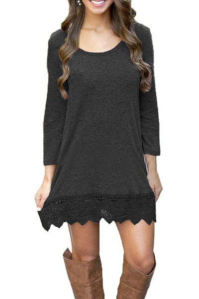 Round Neck  Decorative Lace  Patchwork  Long Sleeve Casual Dresses