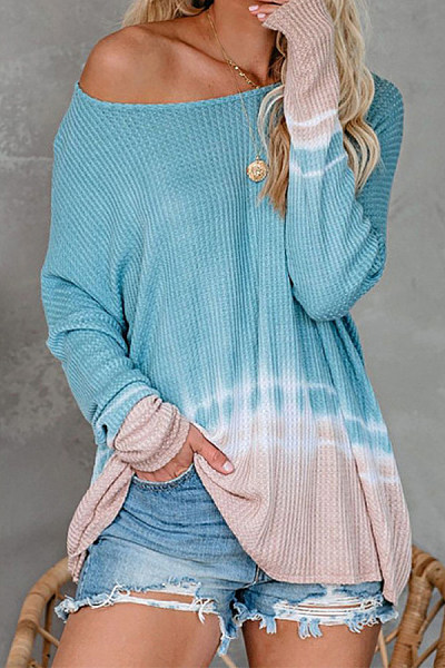 Gradient Open Shoulder Collar Sweater