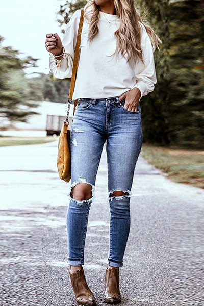 Brushed And Washed Ripped Jeans