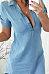 Deep V Neck  Asymmetric Hem  Plain  Short Sleeve Casual Dresses
