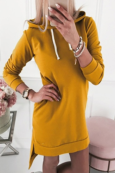 Casual Pure Color Hooded Long Sleeve Dress