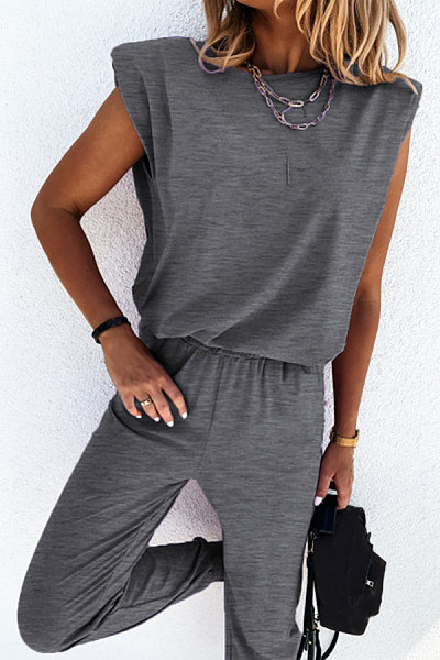 Solid Short Sleeve Two-piece Outfits
