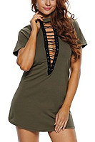 Deep V Neck  Drawstring  Bust Darts  Plain  Short Sleeve Casual Dresses