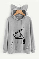 Drawstring Kangaroo Pocket Cat Printed Hoodies