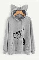 Drawstring Kangaroo Pocket Cat Printed Hoodies