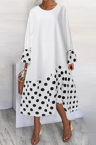 Casual Stitching Polka Dot Printed Long-sleeved Dress