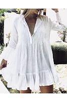 Fashion V Neck Flare Sleeves Beach Mini Dress
