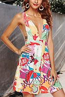 Deep V Neck  Printed  Sleeveless Skater Dresses
