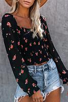 Sweet Square Collar Floral Long Sleeve Short Shirt