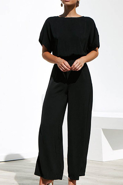 Round Neck  Plain  Short Sleeve Jumpsuits