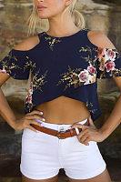 Round Neck  Asymmetric Hem  Floral Printed T-Shirts
