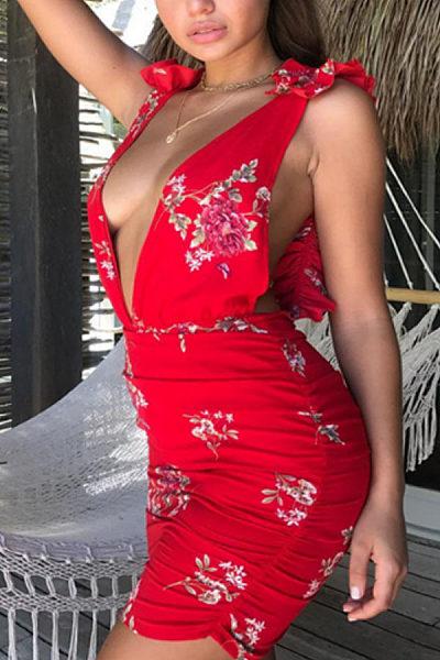 Deep V Neck  Backless  Floral Printed  Sleeveless Bodycon Dresses