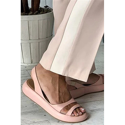Plain  Peep Toe  Casual Travel Flat Sandals