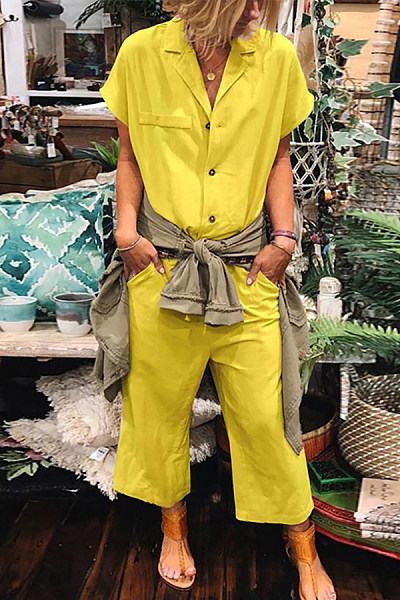 Commuting V Neck Pure Colour Turndown Collar Jumpsuit