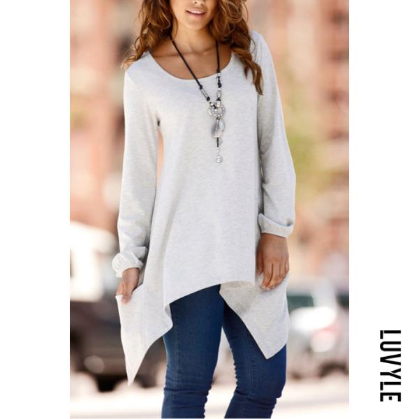 Gray Round Neck Asymmetric Hem Patch Pocket Plain T-Shirts Gray Round Neck Asymmetric Hem Patch Pocket Plain T-Shirts