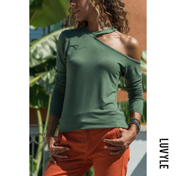 Green One Shoulder Plain T-Shirts Green One Shoulder Plain T-Shirts