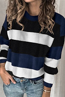 Coloring Striped Round Neck Sweater