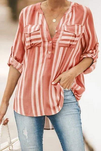 Casual Striped Stand-Up Button Double-Pocket Long-Sleeved Shirt