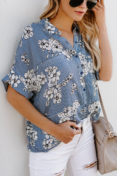 Turn Down Collar  Single Breasted  Floral Printed Striped  Blouses