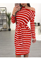 One Shoulder  Striped  Long Sleeve Bodycon Dresses