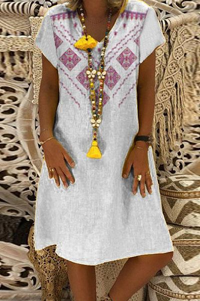 Casual V-neck Short Sleeve Positioning Printed Dress