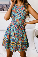 Round Neck  Printed  Sleeveless Skater Dresses
