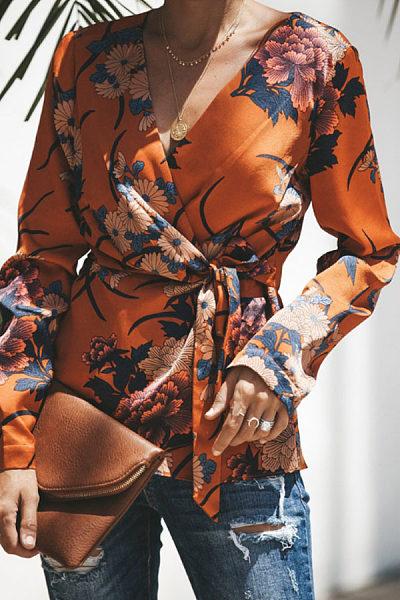 V Neck  Belt  Floral Printed  Blouses