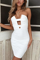 Strapless  Backless  Plain  Sleeveless Bodycon Dresses