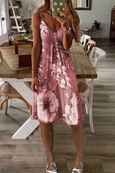 Vacation V-neck printed A-line dress