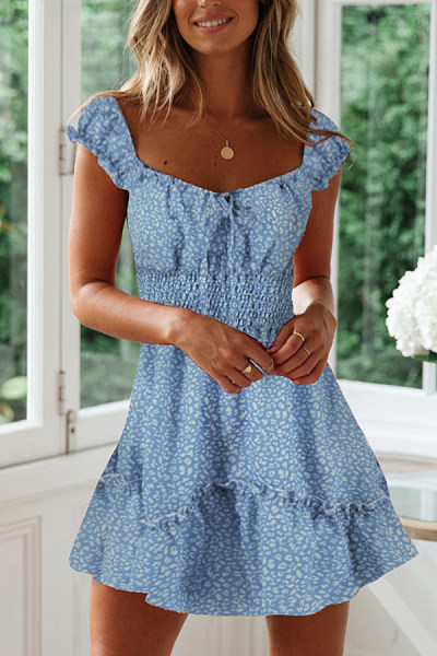 Scoop Neck  Printed  Short Sleeve Skater Dresses