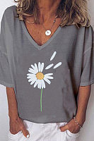 Plants Printed V Neck Loose T-shirt
