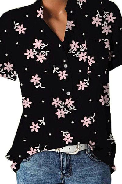 Band Collar Floral Print Short Sleeve Blouse