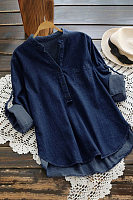 V Neck Long Sleeve Denim Blouse