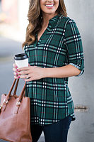 V Neck  Gingham  Blouses