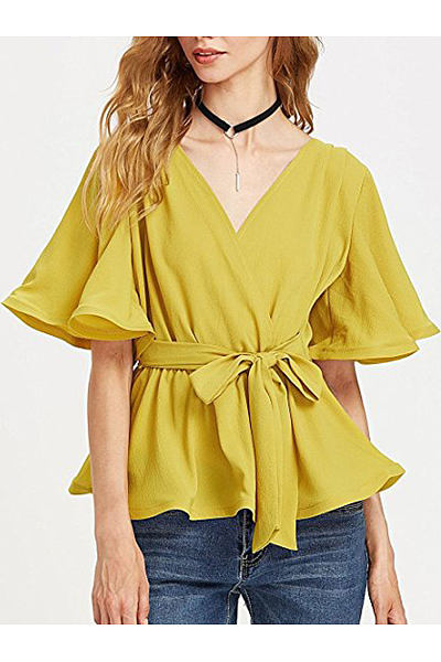 Spring Summer  Spandex  Women  Flounce  Belt  Plain  Short Sleeve Blouses