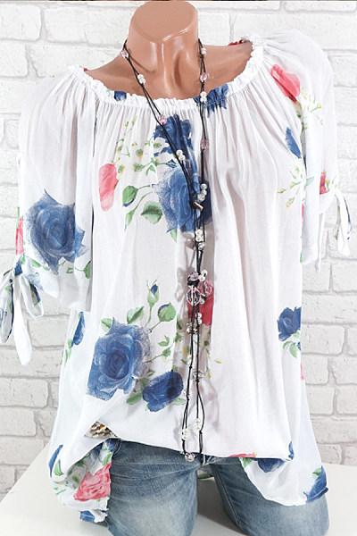 Shoulder Collar Floral Printed Blouse