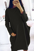 Round Neck Pockets Plain Maxi Dress