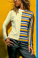 Round Neck Stripes Long Sleeve Patchwork T-Shirts
