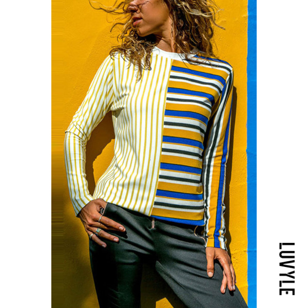 Yellow Round Neck Stripes Long Sleeve Patchwork T-Shirts Yellow Round Neck Stripes Long Sleeve Patchwork T-Shirts
