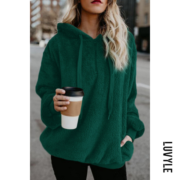 Green Hooded Polyester Casual Plain Hoodies Green Hooded Polyester Casual Plain Hoodies