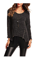 Round Neck Patchwork Zips Long Sleeve T-Shirt
