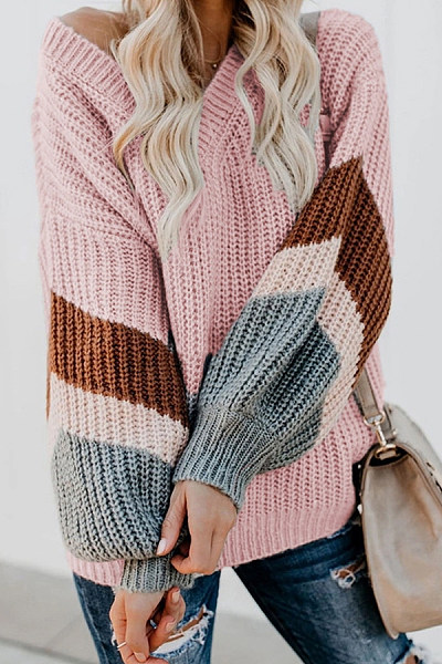 Casual Long Sleeve  V Neck Sweater