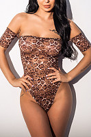 Off Shoulder  Leopard Printed  Teddy