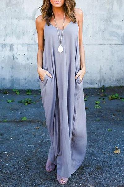 Spaghetti Strap  Loose Fitting Slit Pocket  Plain  Sleeveless Maxi Dresses