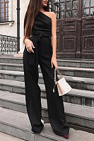 Women's Elegant Solid Color One-Shoulder Jumpsuit