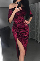 Off Shoulder  Slit  Plain  Three Quarter Sleeve Bodycon Dresses